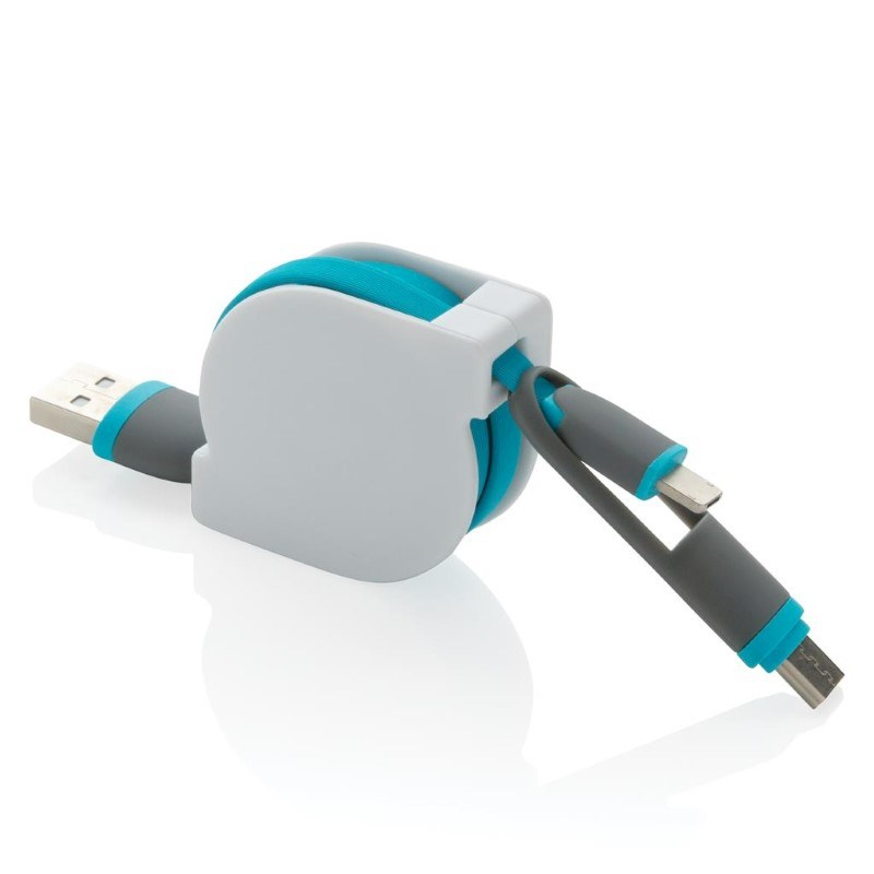 3-in-1 kabel met rolmechanisme, blauw
