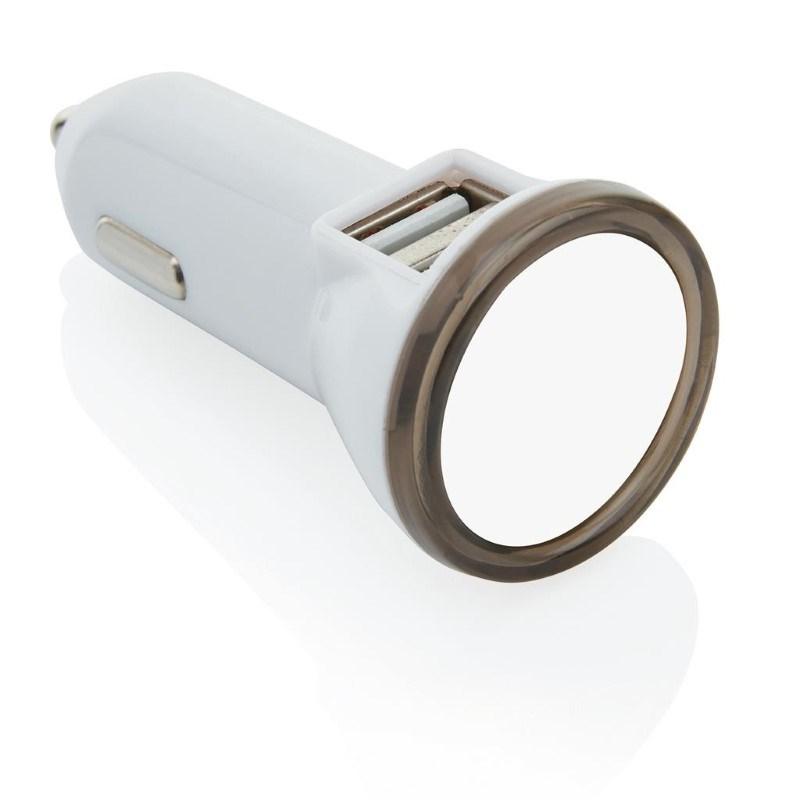 Dubbele USB autolader, grijs