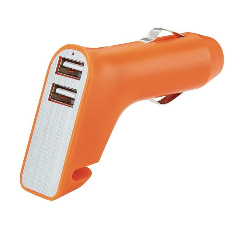 Veiligheids autolader met 2 USB poorten, oranje