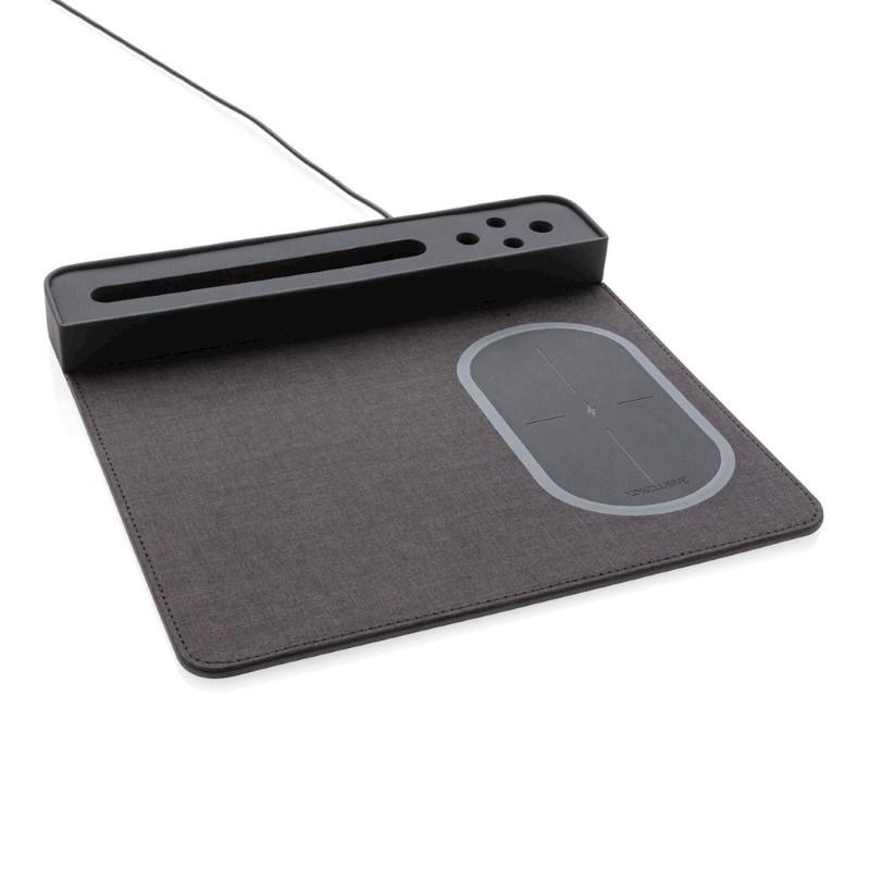 Air muismat met 5W draadloze oplader en USB, zwart
