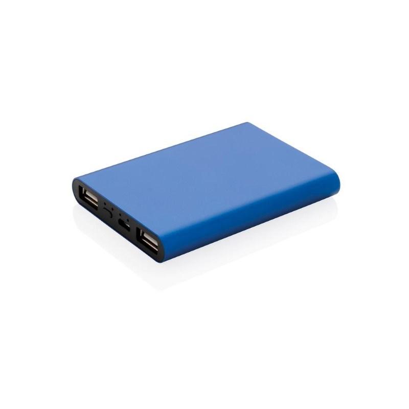 Aluminium 5.000 mAh zakformaat powerbank, blauw