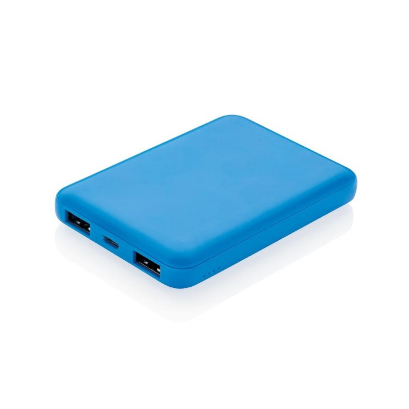 High density 5.000 mAh zakformaat powerbank, blauw