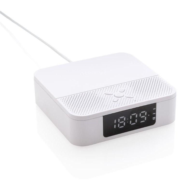 Draadloos 5W oplader speaker met digitale klok, wit