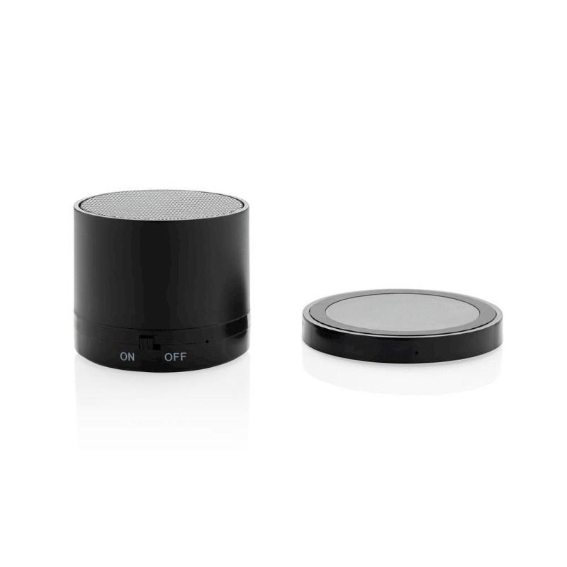 Draadloze oplader en 3W speaker set, zwart