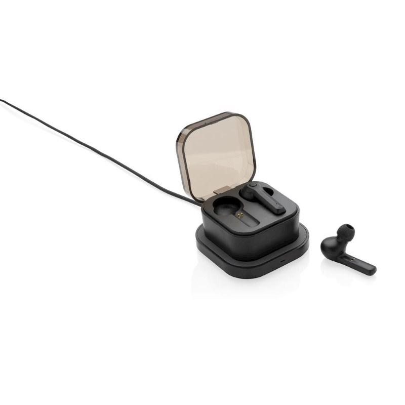 TWS oordoppen in oplaadcassette en draadloze oplader, zwart