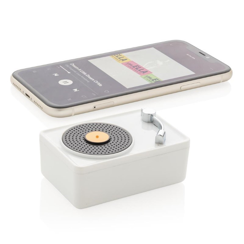 Mini Vintage 3W draadloze speaker, wit