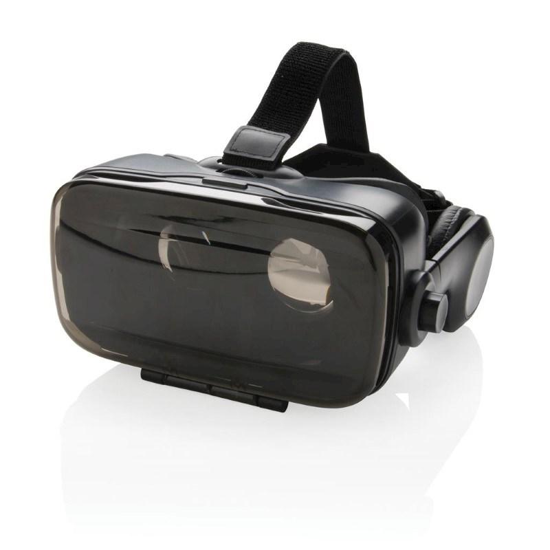 VR-bril met geïntegreerde hoofdtelefoon, zwart