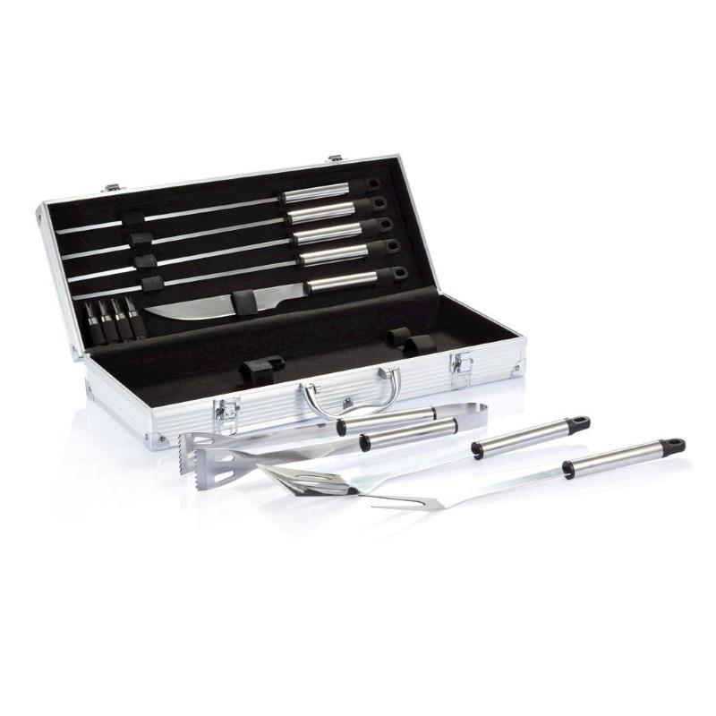 12-delige barbecue set in aluminium koffer, zilverkleurig