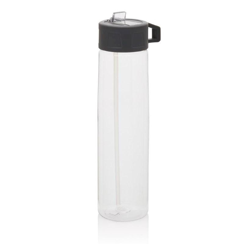 Tritan fles met een rietje, transparant
