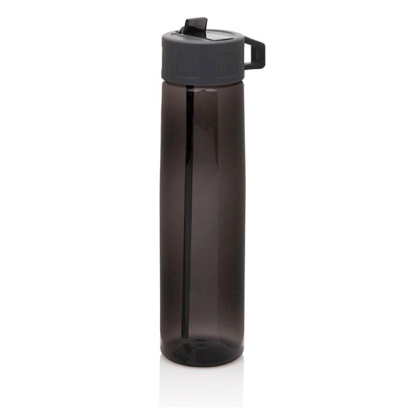 Tritan fles met een rietje, grijs