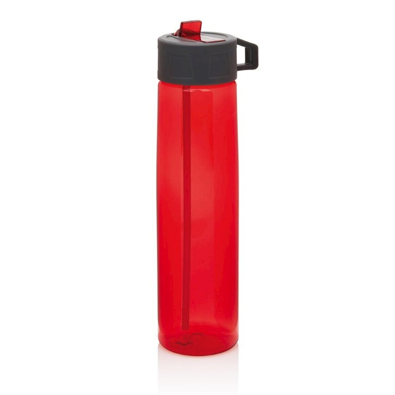 Tritan fles met een rietje, rood