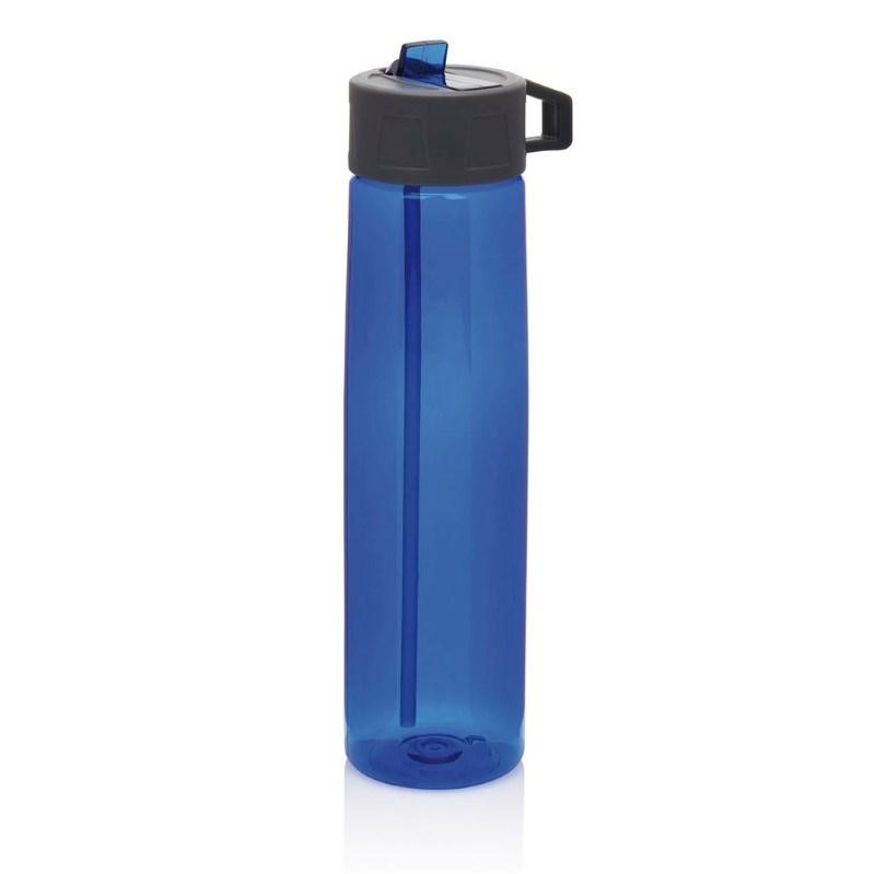 Tritan fles met een rietje, blauw
