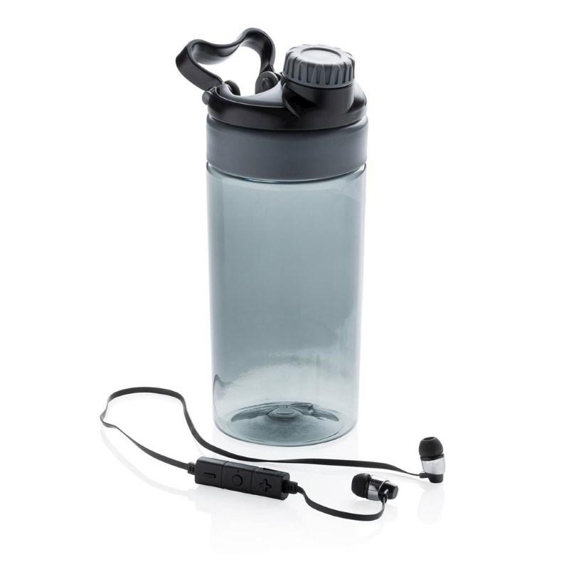 Lekvrije sportfles met draadloze koptelefoon, grijs