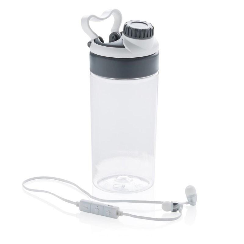 Lekvrije sportfles met draadloze koptelefoon, wit