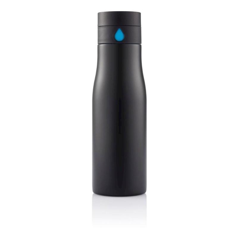 Aqua hydratatie RVS fles, zwart