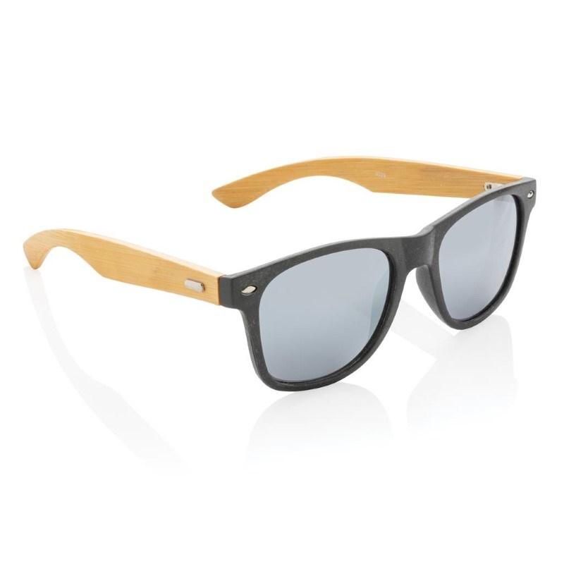 Tarwevezel en bamboe zonnebril, zwart