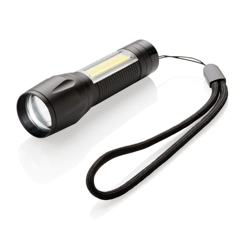 LED 3W focus zaklamp met COB, zwart