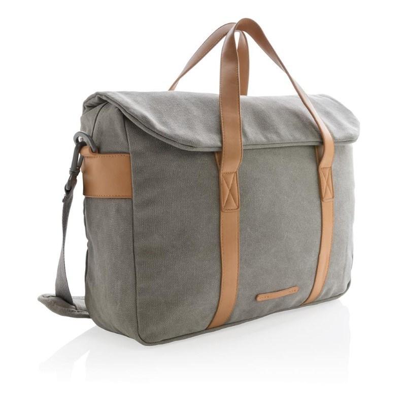 Canvas laptop tas PVC vrij, grijs