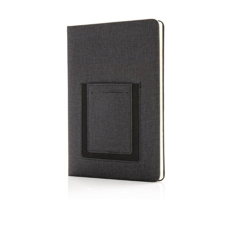 Luxe A5 Notitieboek met telefoonvak, zwart