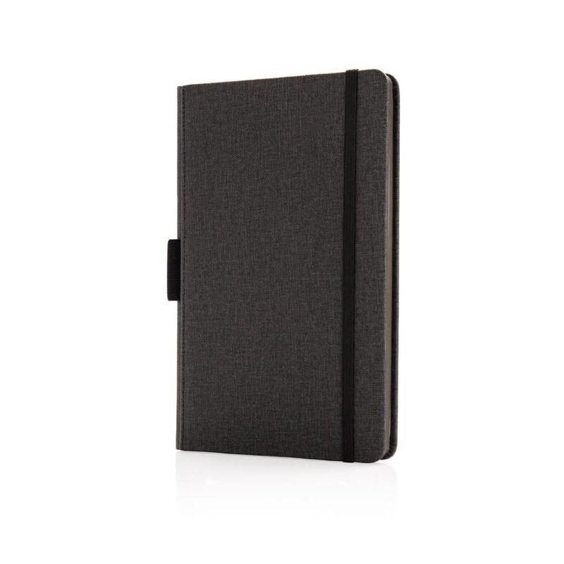 Luxe A5 notebook met penhouder, zwart