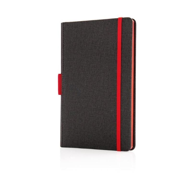 Luxe A5 notebook met penhouder, rood