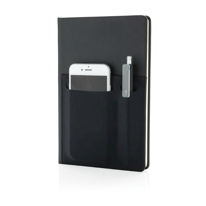 A5 Deluxe notitieboek met slimme opbergvakken, zwart
