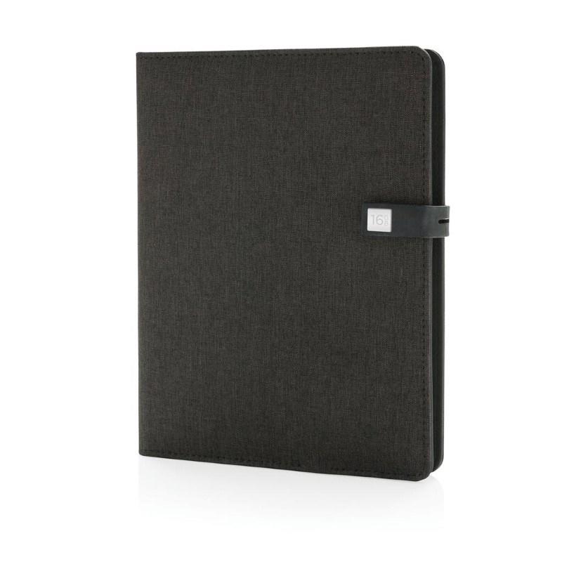 Kyoto powerbank & 16 GB USB notitieboek, zwart