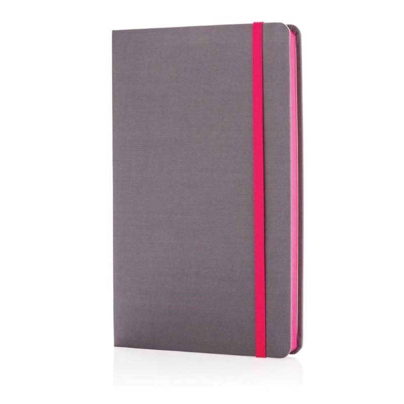 A5 Deluxe stoffen notitieboek met gekleurde zijde, roze