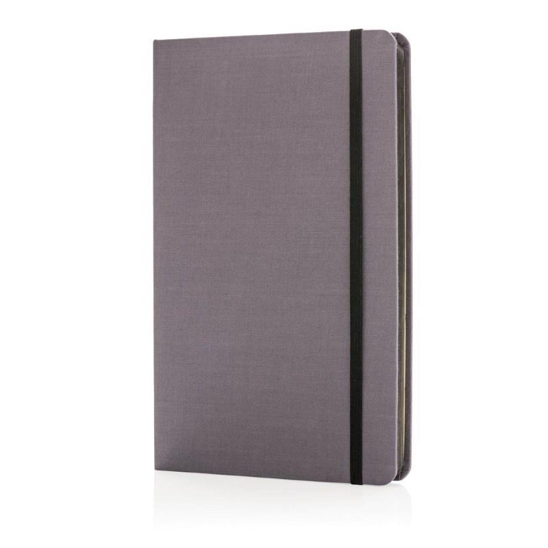A5 Deluxe stoffen notitieboek met gekleurde zijde, zwart