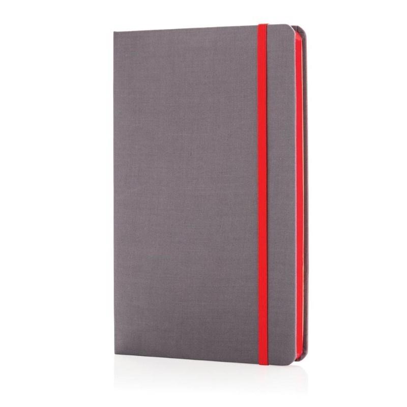 A5 Deluxe stoffen notitieboek met gekleurde zijde, rood
