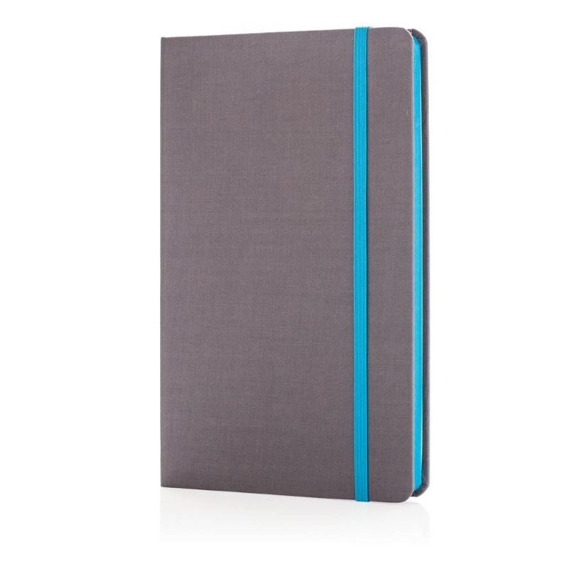A5 Deluxe stoffen notitieboek met gekleurde zijde, blauw