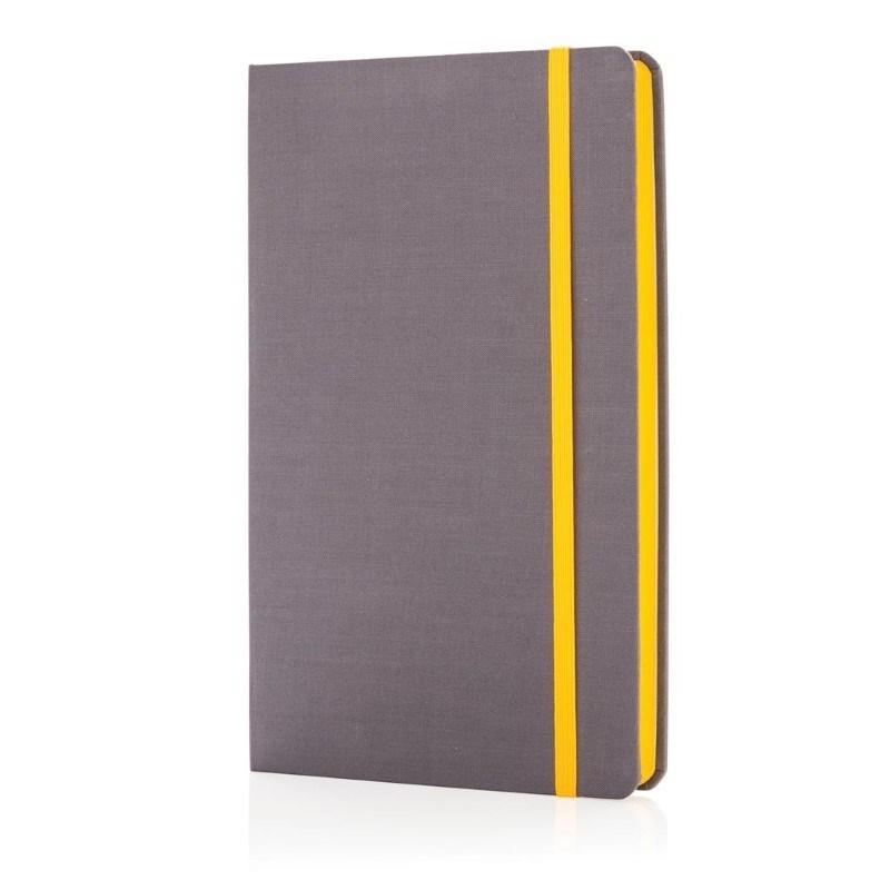 A5 Deluxe stoffen notitieboek met gekleurde zijde, geel