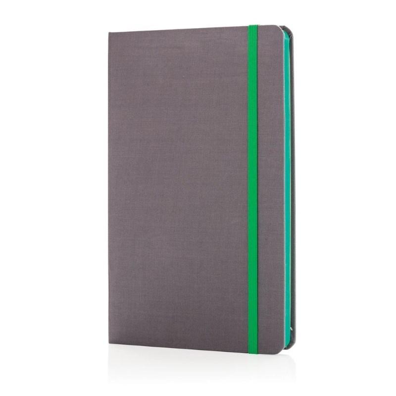 A5 Deluxe stoffen notitieboek met gekleurde zijde, groen