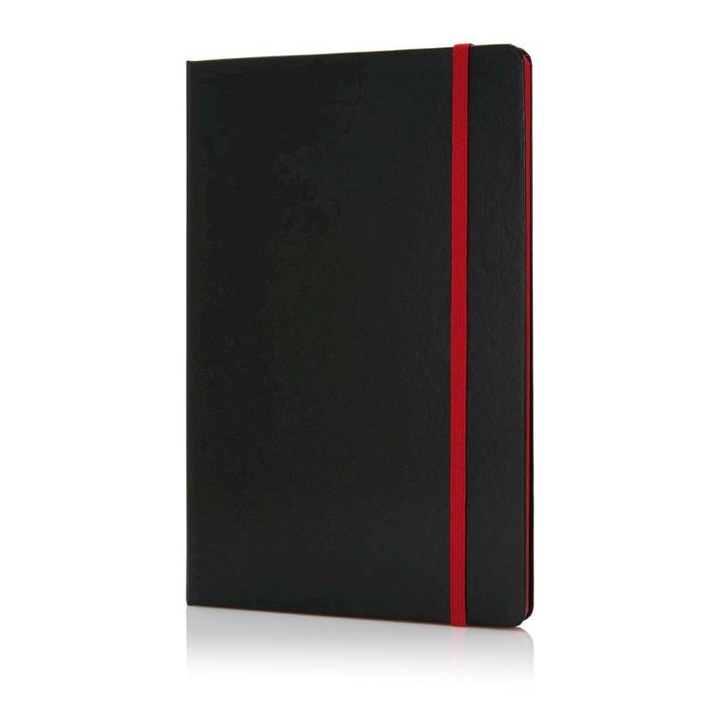 Deluxe hardcover A5 notitieboek met gekleurde zijde, rood