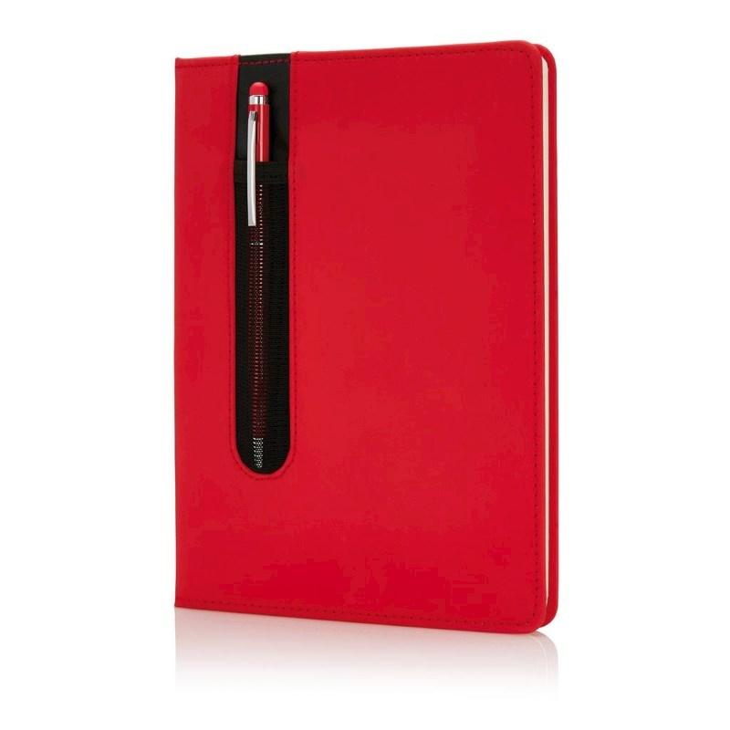 Standaard hardcover PU A5 notitieboek met stylus pen, rood