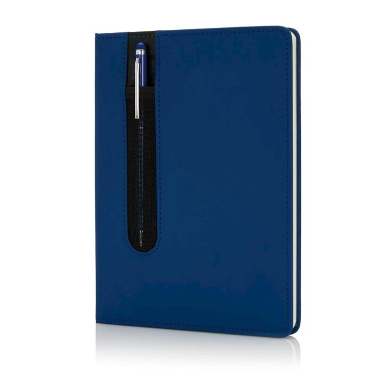Standaard hardcover PU A5 notitieboek met stylus pen, donker
