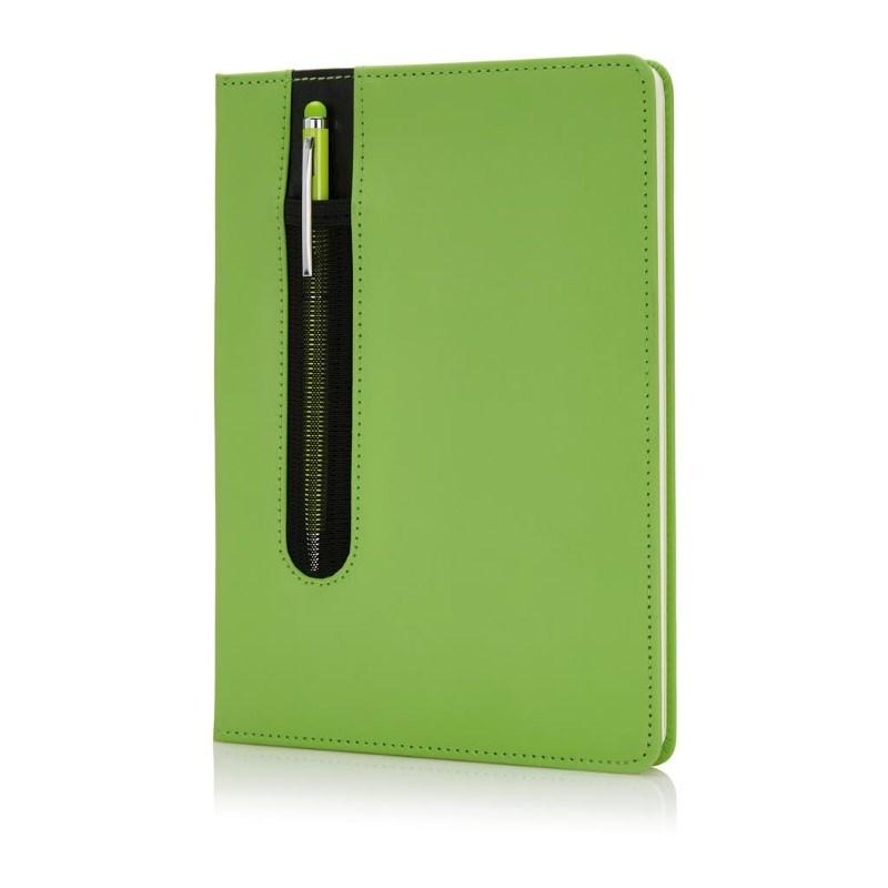 Standaard hardcover PU A5 notitieboek met stylus pen, groen