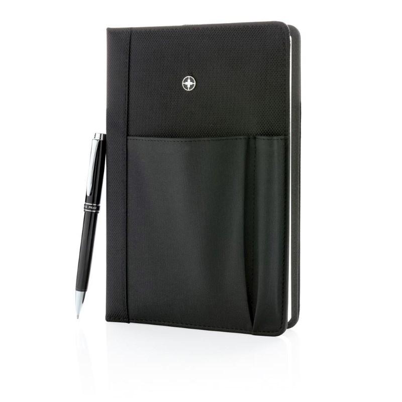 Swiss Peak hervulbaar notitieboek en pen set, zwart