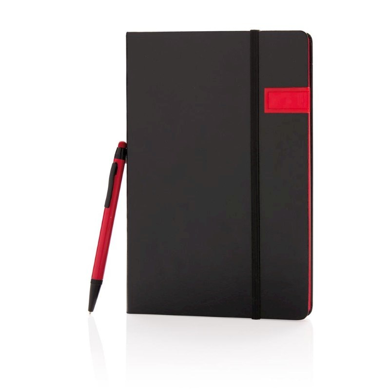 Deluxe data notitieboek met 8GB USB en touchscreen pen, rood