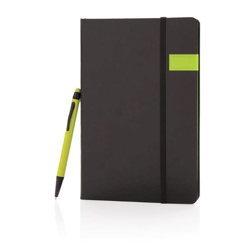 Deluxe data notitieboek met 8GB USB en touchscreen pen, lime