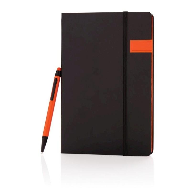 Deluxe data notitieboek met 8GB USB en touchscreen pen, oran