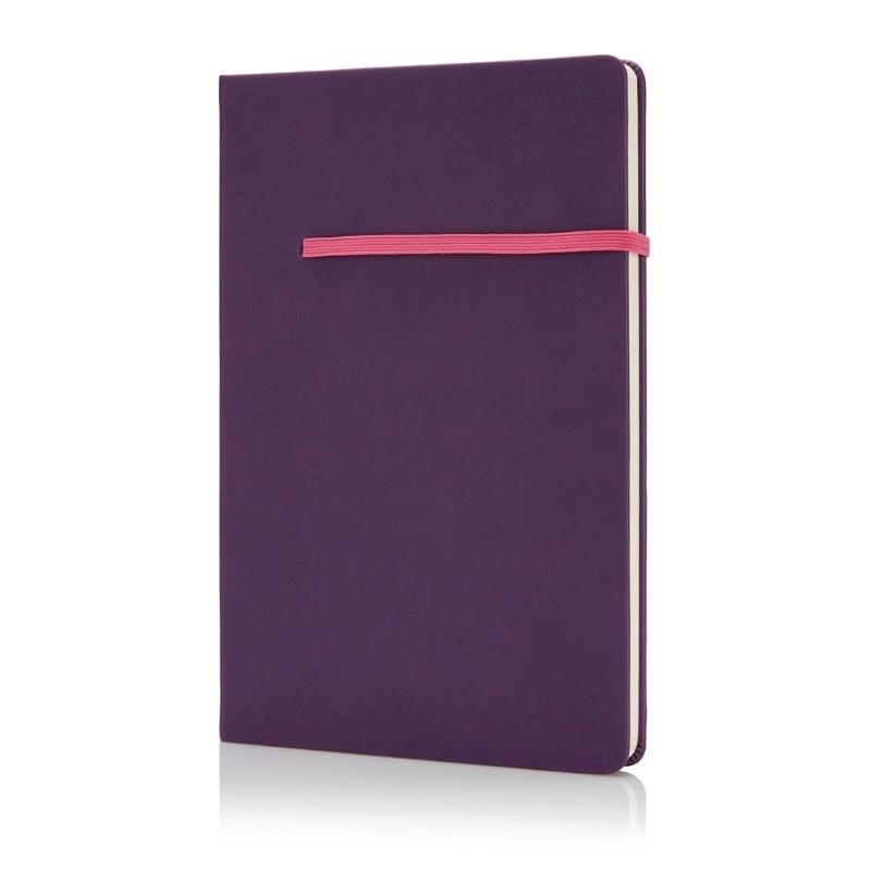 A5 notitieboek met horizontaal elastiek, paars