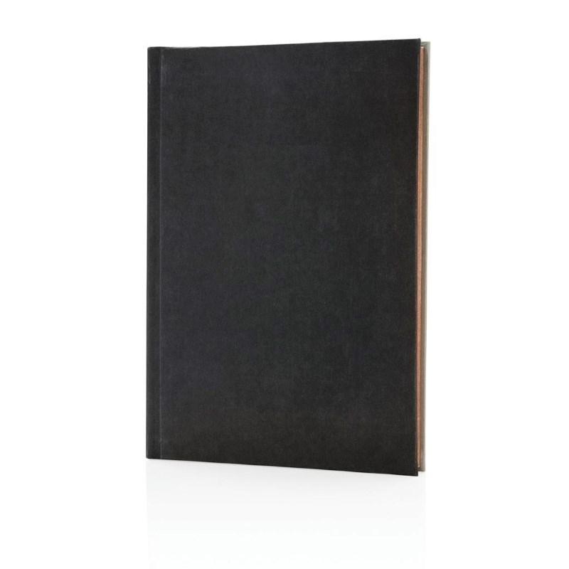 Deluxe stoffen 2-in-1 A5 notitieboek, zwart