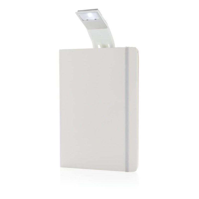 A5 notitieboek met LED leeslamp, wit
