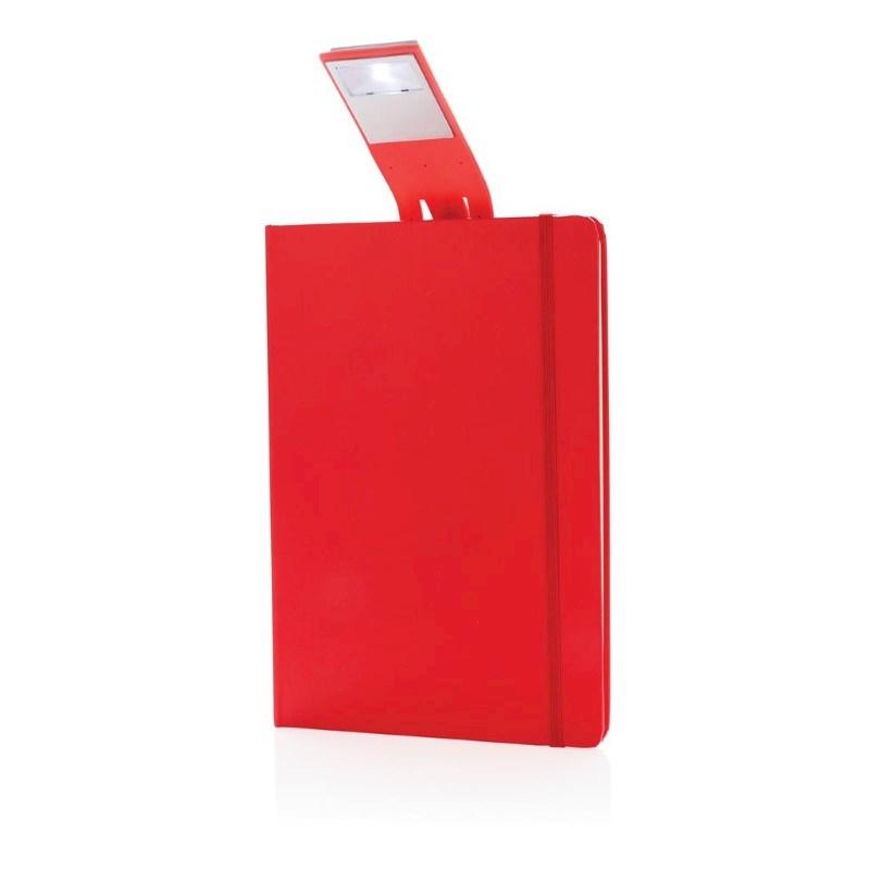 A5 notitieboek met LED leeslamp, rood