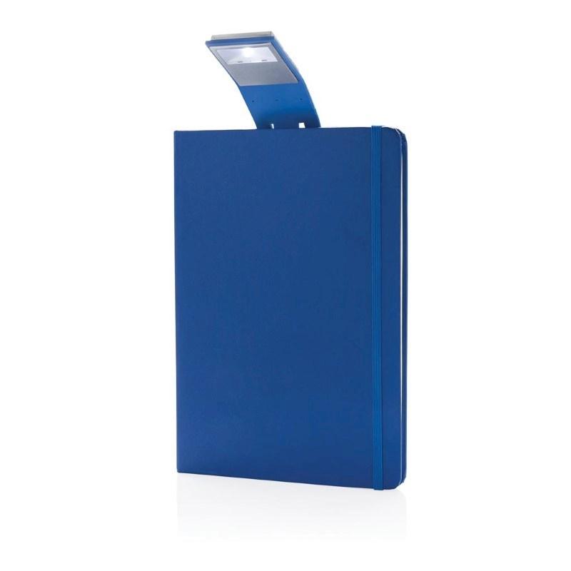 A5 notitieboek met LED leeslamp, blauw