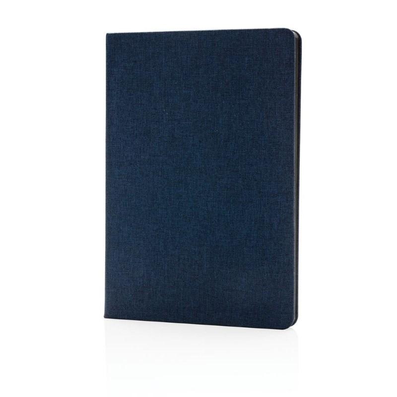 Deluxe stoffen notitieboek met zwarte zijkant, blauw