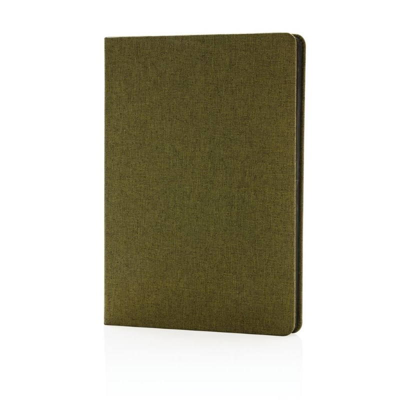 Deluxe stoffen notitieboek met zwarte zijkant, groen