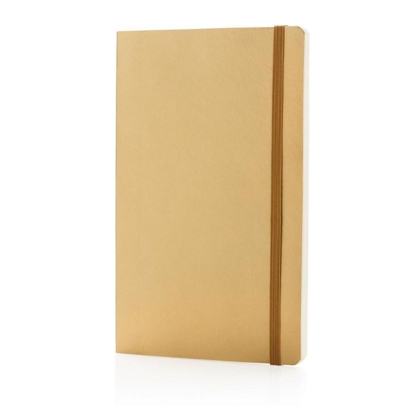 Deluxe metallic softcover notitieboek, goudkleurig