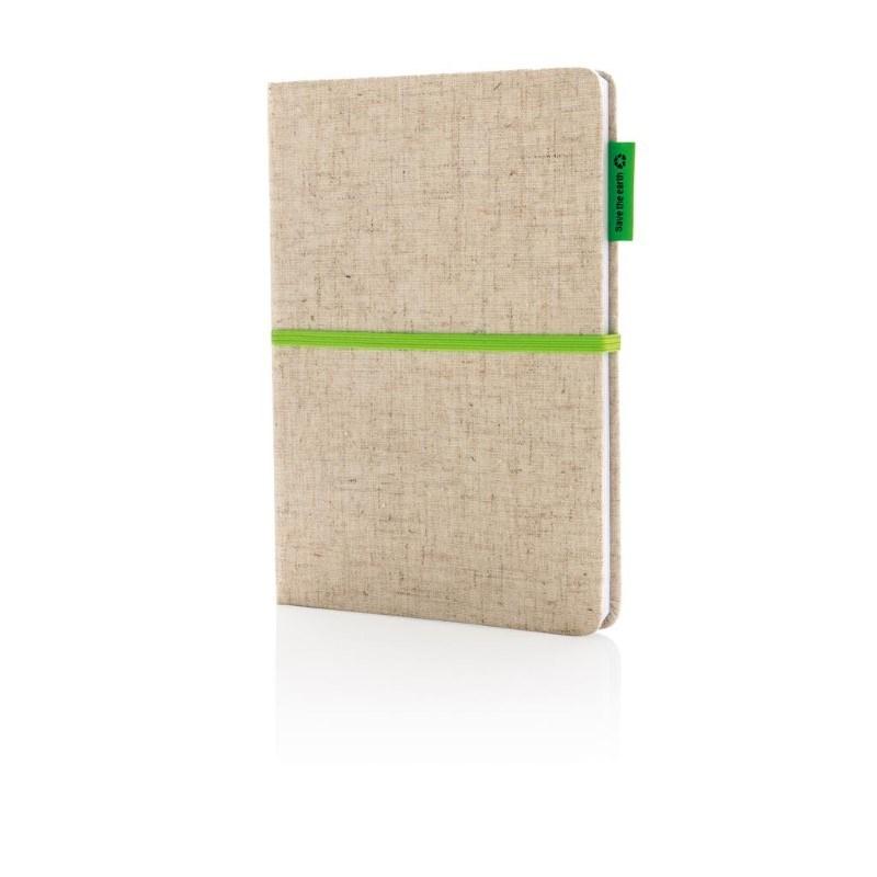 A5 Eco jute katoen notitieboek, groen